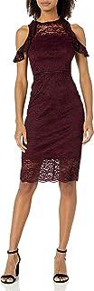 bebe Women's Ruffle Cold Shoulder Lace Midi Dress with Peakaboo Hem