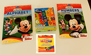 Disney Mickey Mouse Clubhouse Alphabet and Numbers Learning Workbooks + Jumbo Crayon Pack of 10 Crayons + Disney 1-2-3 Shaped Puzzle