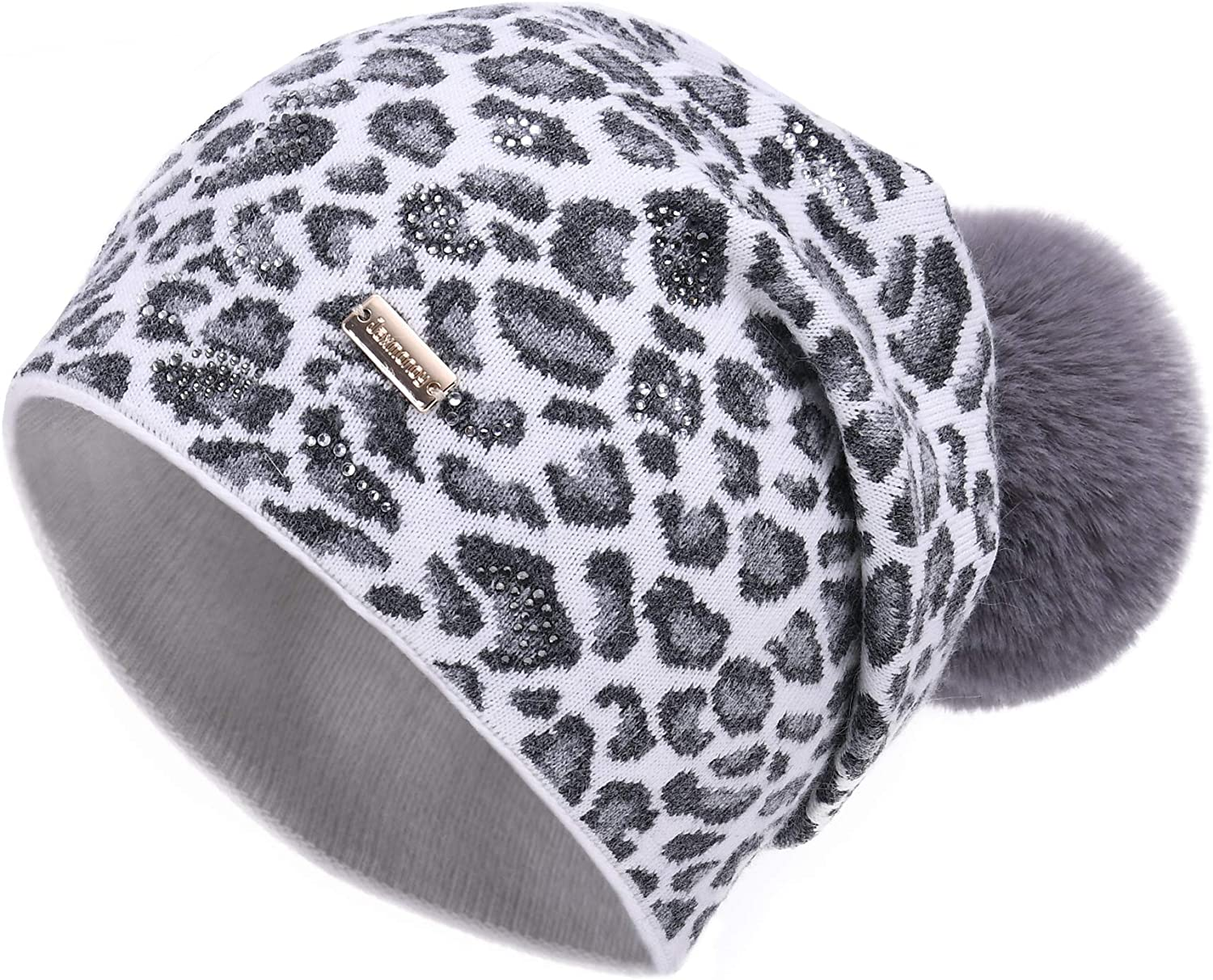 jaxmonoy Cashmere Wool sale Slouchy Max 87% OFF Knitted Beanie for Women S Winter