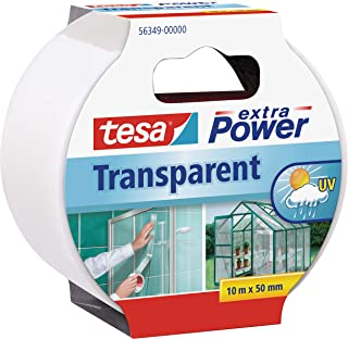 Tesa extra Power Clear Duct Tape - Cinta impermeable de reparación transparente para exteriores, 10 m x 50 mm