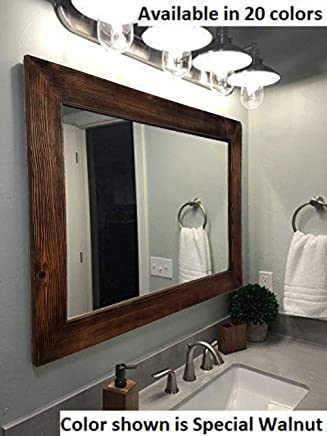 Country rustic handmade mirrors - White wood framed bathroom mirrors ...