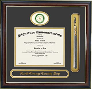 Signature Announcements Baylor University (BU) Undergraduate and Graduate Graduation Diploma Frame with Sculpted Foil Seal, Name & Tassel (Gloss Mahogany w/Gold Accent, 20 x 20)