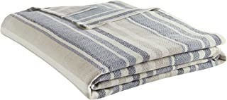 Eddie Bauer 213124 Herringbone Blanket, King, Blue Stripe