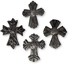 Cross, Religious Decor, Milagro, Haitian Metal, Recycled Art Set of 4 3 x 3 Inches