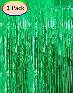 Moohome 2 Pack 3ft x 8ft Green Foil Curtains Metallic Tinsel Fringe Curtains Shimmer Door Window Curtain Backdrop for Birthday Wedding Bridal Shower Baby Shower Photo Booth Party Decorations