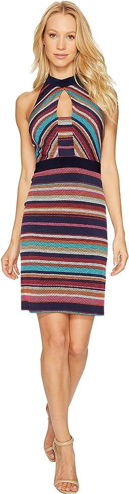 Printed Stripe Sheath Dress