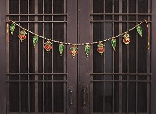 CraftVatika Ganesha Ethnic Bandarwal Shubh Labh Metal Toran Bandanwar for Pooja Mandir Door Wall Hangings - Vastu Shubh Di...