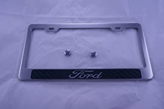 Fit Ford Polished License Plate Frame with Carbon Fiber Style Letter anFit Ford Cap
