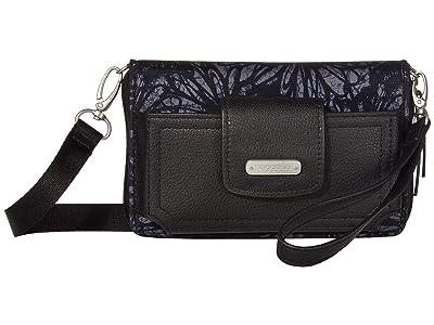 Baggallini New Classic RFID Phone Wallet Crossbody (Onyx Floral) Cross Body Handbags