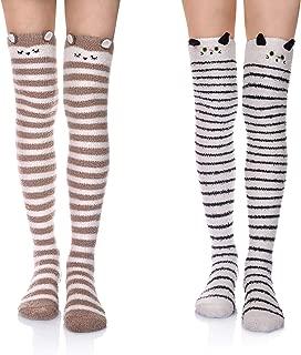 Womens Soft Warm Coral Velvet Knee High Stockings Fuzzy Socks for Christmas Gift