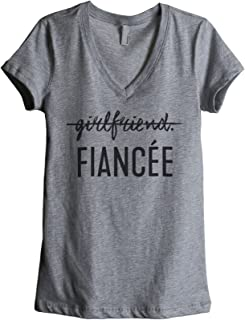 Girlfriend Fiancee Women's Fashion Relaxed V-Neck T-Shirt Tee Heather Grey