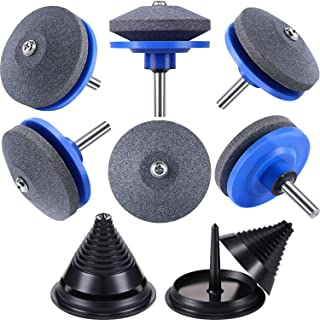 8 Pieces Lawn Mower Blade Sharpener Accessories Includes Drill Lawn Mower Blade Sharpener Grinder Wheel Stone for Power Drill Hand Drill and Lawn Mower Blade Balancers for 42-100 Model