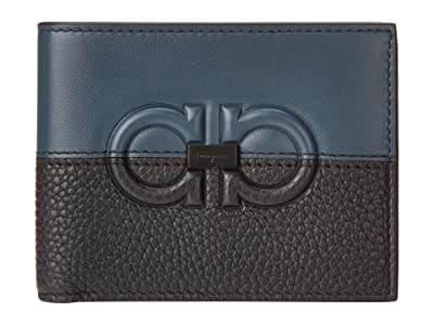 Salvatore Ferragamo Firenze Logo Bifold Wallet 66A569 (Petrol/Black) Wallet Handbags