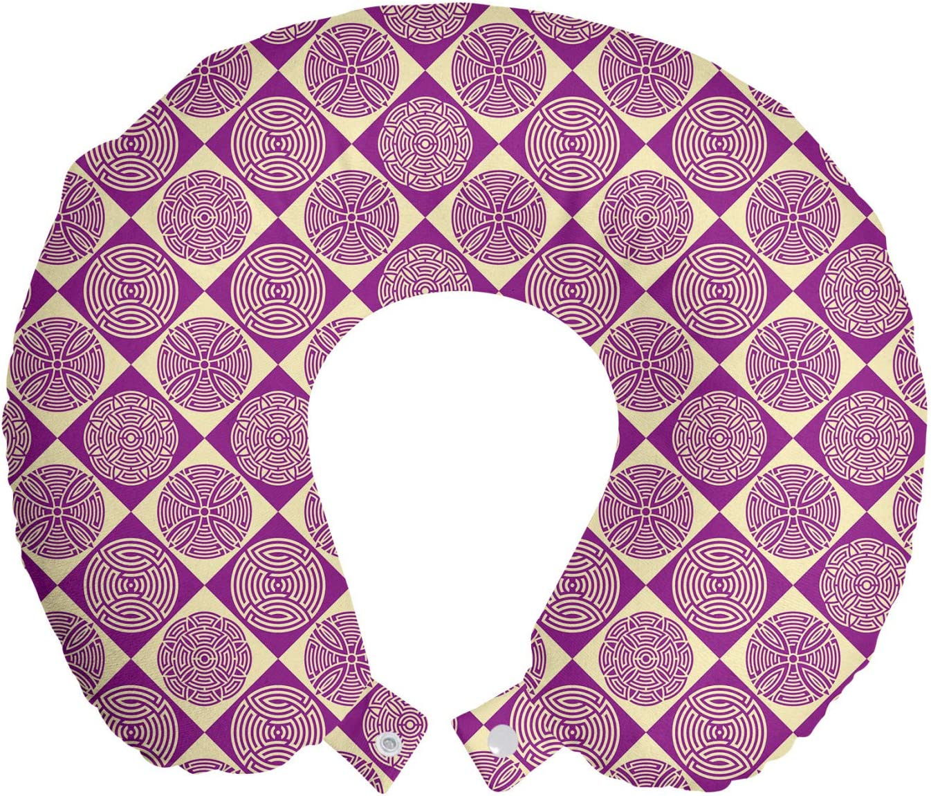Ambesonne Abstract Travel Pillow 2021 model Neck Rest Ornamental Design of Max 90% OFF