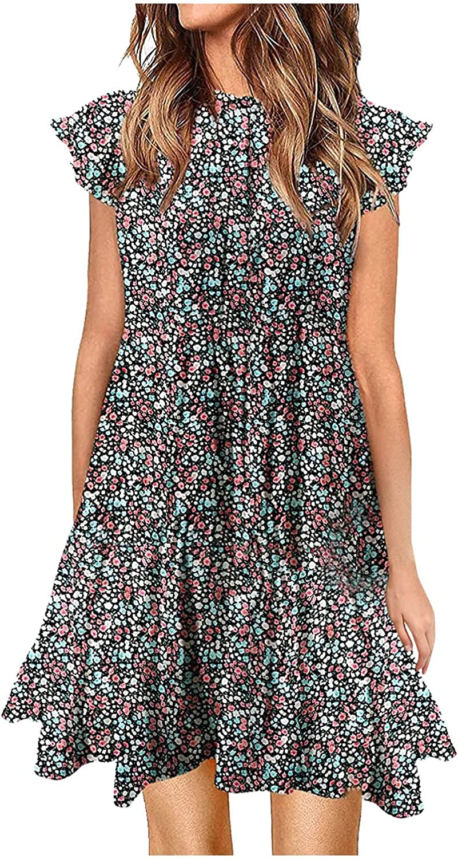 MASZONE Mini Dress for Women, Women's Casual Summer T Shirt Dress Loose Short Sleeve Tunic Dress for Women