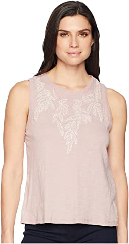 Embroidered Leaf Tank Top