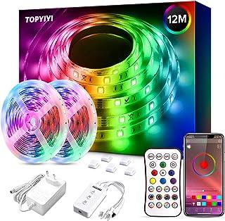 Luces LED 12M, TOPYIYI 5050 RGB Tiras LED Iluminación, Función Musical, Control de APP y de Control Remoto, Adaptador,para...