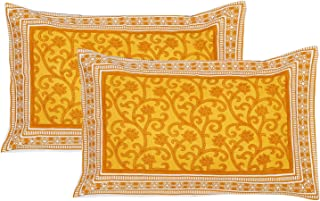 FABRIVILLA Cotton Block Printed Floral Design Pillow Cover Set of 2Pcs (17 x 27 inches, Yellow)