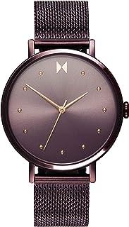ساعة بسوار ستيل ارجواني بطلاء ايوني ومينا ارجواني بعلامات منقطة للنساء من ام في ام تي - 28000032-D