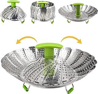 Vaporera de acero inoxidable para cocinar al vapor de verduras, con mango extensible y patas antideslizantes 6