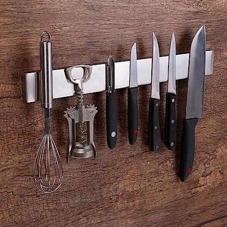 Virklyee Acier INOX Porte-Couteaux Magnétique Support magnétique pour Couteaux Porte-Couteaux Barre à Couteaux aimantée(16 inches)