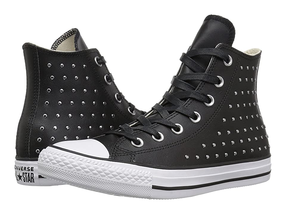 Converse Chuck Taylor All Star Leather Studs Hi (Black/Black/Silver) Women