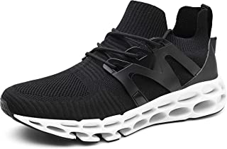 TSIODFO Springblade Sports Sneakers for Men Mesh Breathable Fashion Youth Big Boys Trail Walking Shoes Black White Red