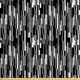 Ambesonne Black and White Fabric by The Yard, Barcode Pattern Abstraction Vertical Stripes in Grayscale Colors, Decorative Fabric for Upholstery and Home Accents, 1 Yard, Black White