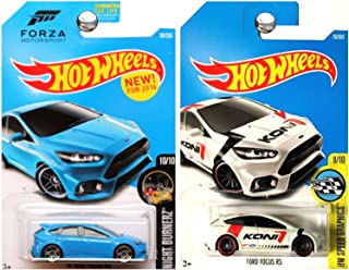 Hot Wheels Forza Motorsports and Koni Shocks Ford Focus RS in Blue and White SET OF 2