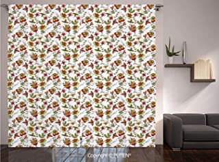 Thermal Insulated Blackout Window Curtain [ House Decor,Vintage Fabric Design Style Traditional Exotic Plants Flowers Pattern Fall Colors, for Living Room Bedroom Dorm Room Classroom Kitchen Cafe
