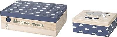 Bloomingville Wood Storage Boxes, Set of 2, Navy