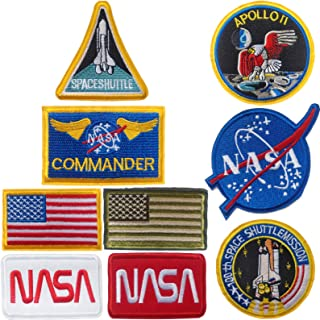 NASA Patches,Apoll Patches,Space Shuttle Patches,US Flag Patches for Hats,Jackets,Shirts,Vests, Shoes, Jeans 9 Pieces