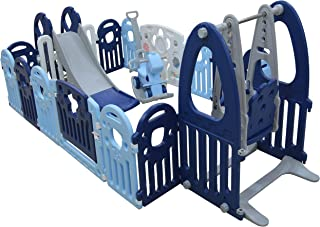 Foldable Safety Fence Playpen for Kids Activity Centre- Children Play Toy Yard with Gates for Indoor and Outdoor (Blue, 20...
