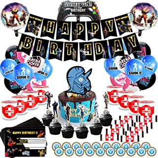 Video Game Party Supplies Includes Cake, Cupcake Toppers, Balloons, Banner, Invitation Cards, Chocolate Coins, Chocolate B...