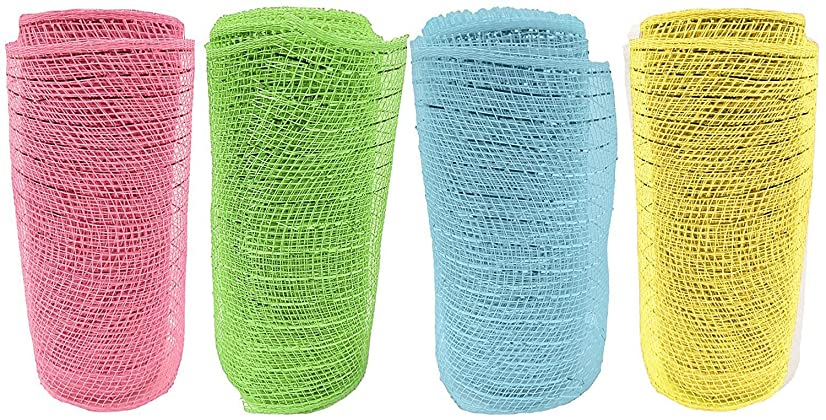 Set of 12 Decorative Mesh Rolls! 4 Assorted Easter Themed Colors! - 6