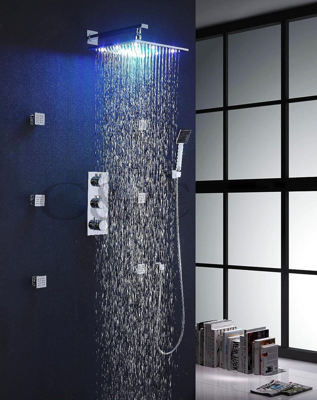 Mit Thermostatmischventil 12 Zoll LED 7 Farben Regendusche Kopfmassage Sprühdüsen Thermostatdusche Set 007-12-2C