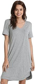 GYS Women's Short Sleeve V Neck Bamboo Nightgown