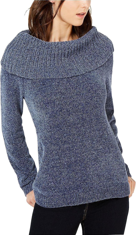 INC Womens Chenille Metallic Pullover Sweater Blue M