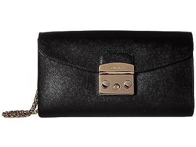Furla Metropolis Small Pochette w/ Chain (Onyx) Handbags
