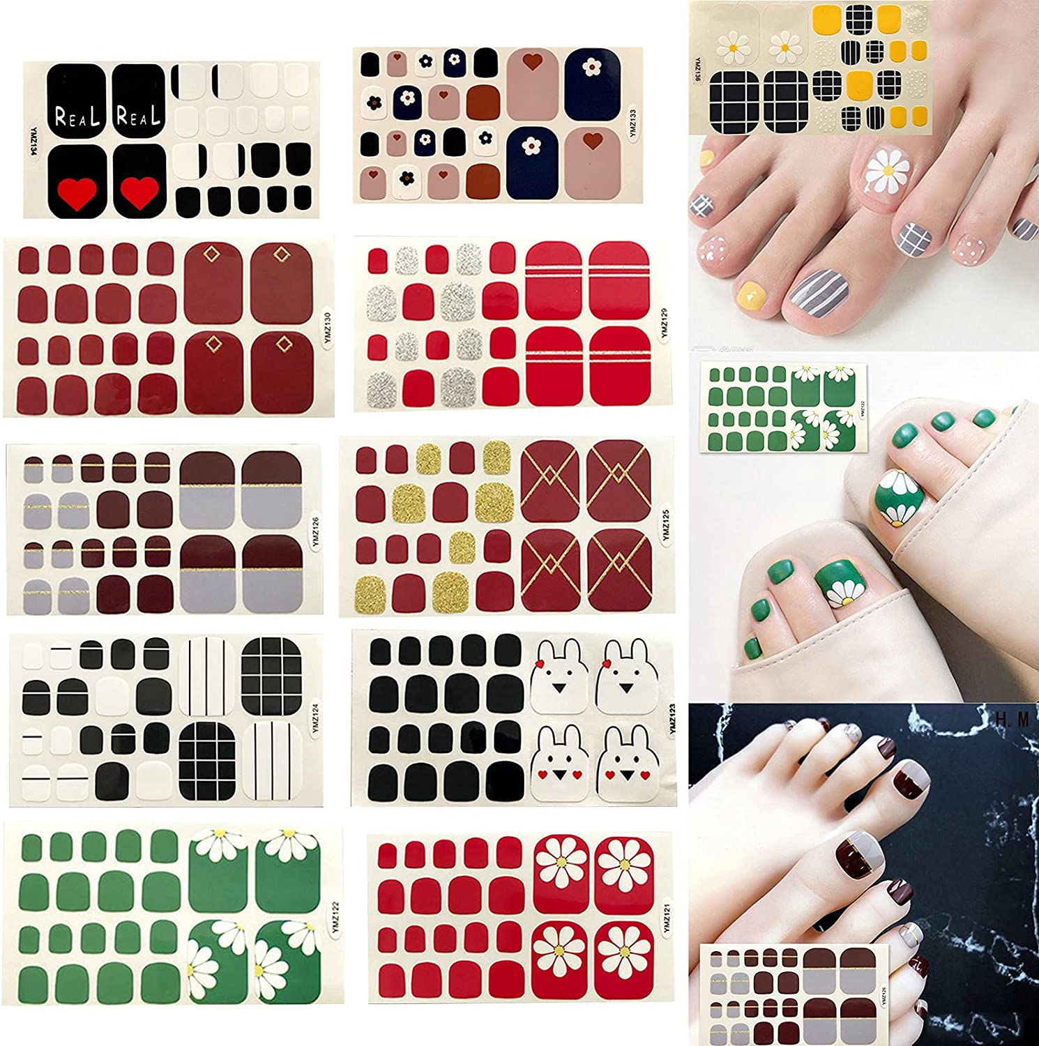 JHKUNO Toe Nail 70% OFF Outlet shop Stickers for Waterproof Chic Art Color