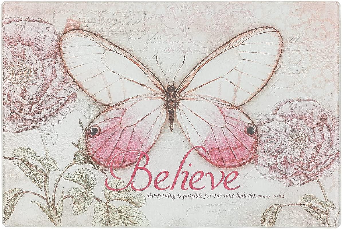 Botanic Butterfly Blessings Believe Glass Cutting Board Trivet Mark 9 23 Small 11 7 8 X 7 7 8