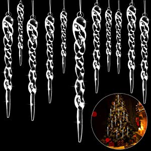 48 Pieces Glass Icicle Ornaments Clear Twisted Icicle Christmas Tree Decorations Crystal White Artificial Winter Hanging Decor for Christmas Tree Home Festival Decorations, 4 Sizes