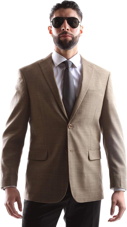 Prontomoda Men's 2 Button Luxury 100% Lamp Wool Wheat Sport Coat Size Long 40