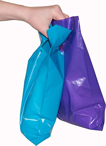 """200 glossy purple and teal merchandise bags, retail shopping bags with handles retail or home & kitchen, 9"""" x 12"""""""