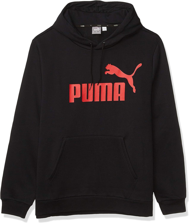 PUMA Men's Big & Tall Essentials Big Logo Fleece Hoodie BT, Black, 4XLT