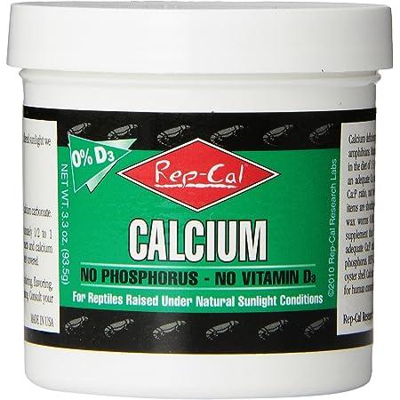 Rep-Cal 52298 Phosphorous-Free Calcium Powder Reptile/Amphibian Supplement Without Vitamin D3, 4.1 oz
