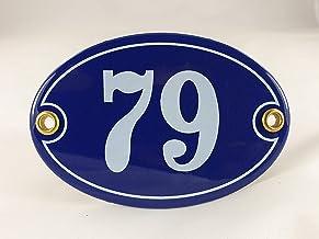 Emaille huisnummer bord nr. 79, ovaal, blauw-wit Nr. 79 Blau-Weiß + Schrauben und Dübel