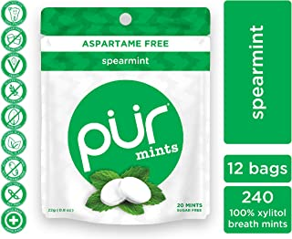PUR 100% Xylitol Breath Mints, Spearmint, 20 Count (Pack of 12) Sugar-Free + Aspartame Free, Vegan + non GMO