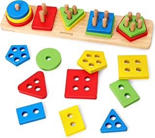 Coogam Wooden Sorting Stacking Toys, Shape Color Recognition Blocks Matching Puzzle Stacker Montessori Geometric Board Ear...