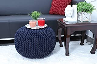 Frenish Décor Hand Knitted Cotton Ottoman Pouf Footrest 20x20x14 INCH, Living Room Accent seat (Navy)